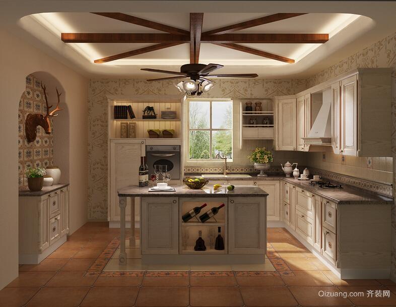100平米别墅型厨房室内橱柜装修效果图