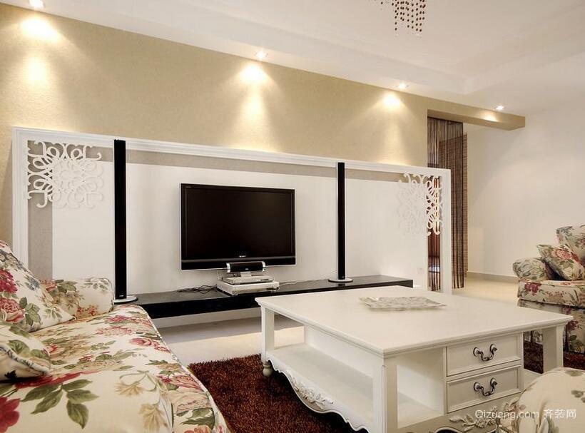 混搭风格经典的大户型电视墙背景装修效果图