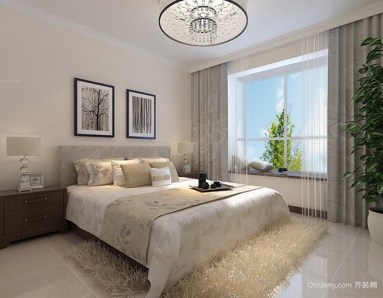 2016大户型现代简约卧室吊顶装修效果图