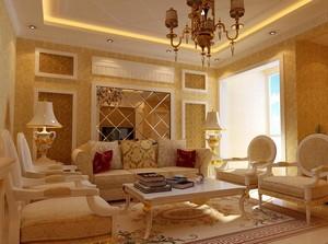 精致的欧式别墅客厅沙发背景墙装修效果图鉴赏