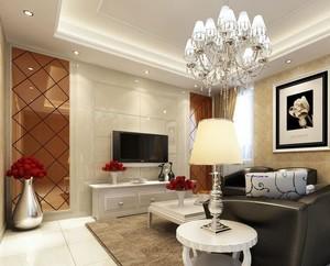 欧式风格120平米客厅背景墙装修效果图实例