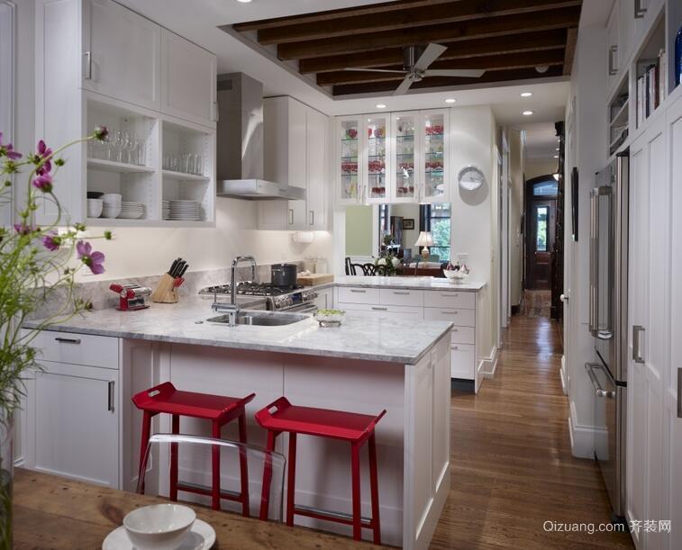 2016大户型现代简约厨房吊顶装修效果图
