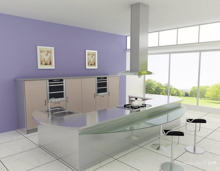 别墅欧式现代厨房不锈钢橱柜装修效果图实例