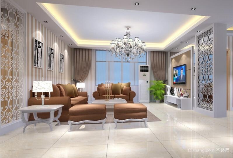 现代欧式大户型精致的客厅吊顶装修效果图