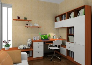 现代精致的大户型室内书房书柜装修效果图