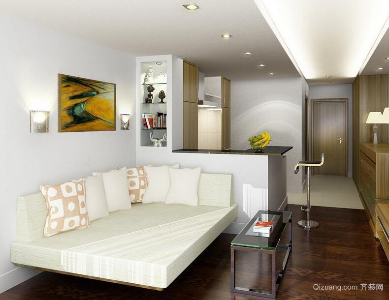 现代欧式精美的单身公寓吊顶装修效果图
