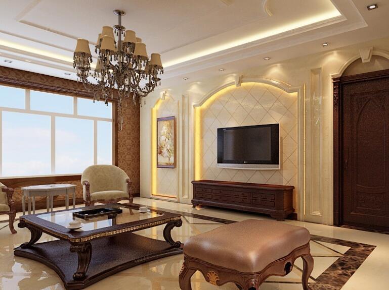100平米大户型欧式客厅电视背景墙装修效果图