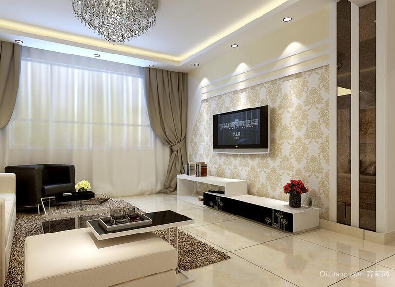 欧式别墅型客厅电视背景墙装修效果图实例