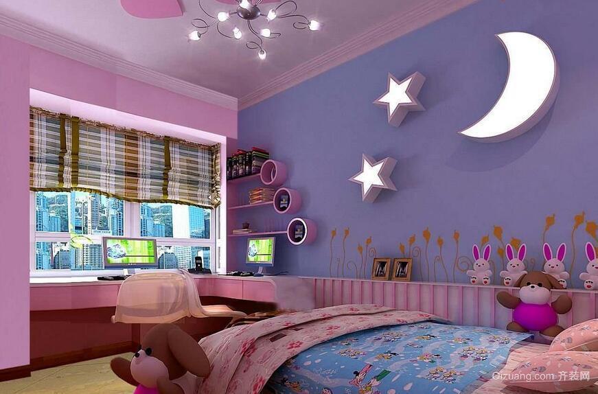 现代欧式大户型儿童房卧室背景墙装修效果图