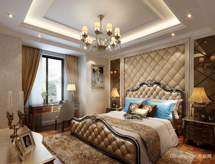 90平米大户型欧式卧室软包背景墙装修效果图