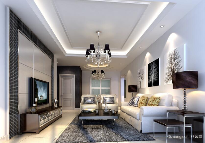 现代欧式唯美的大户型客厅装修效果图