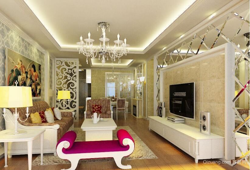 精致的大户型简欧风格客厅装修效果图