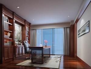 现代都市别墅型精致书房吊顶装修效果图
