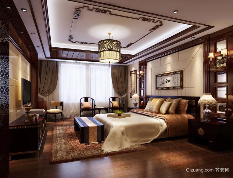 精致的大户型现代中式卧室吊顶装修效果图