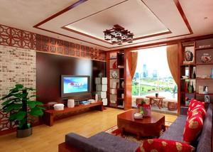 2016别墅型中式客厅背景墙装修效果图实例