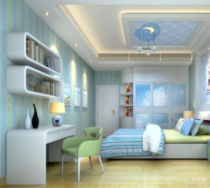 经典的大户型动感儿童房背景墙装修效果图
