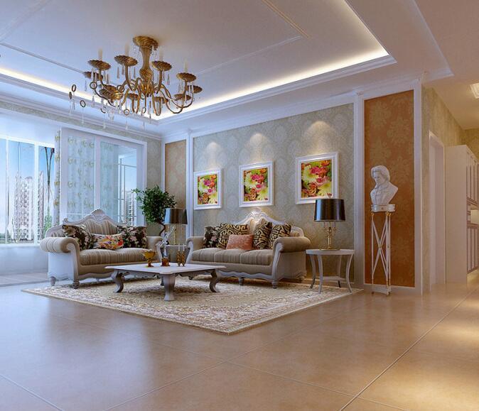 欧式风格大户型客厅是沙发背景墙装修效果图