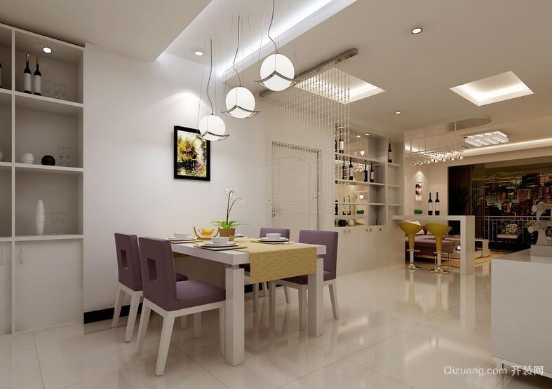 110平米欧式风格家庭餐厅背景墙装修效果图