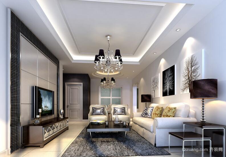 90平米别墅欧式风格客厅电视背景墙装修效果图
