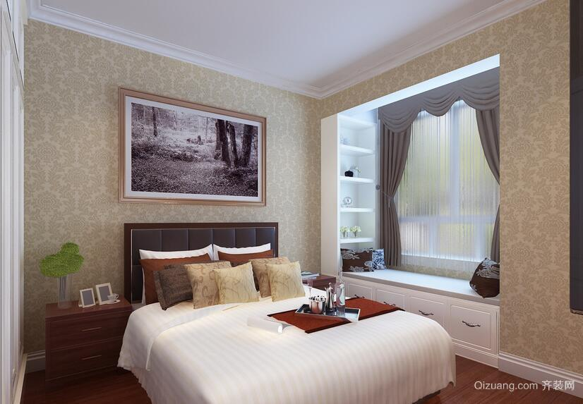 2016唯美的大户型欧式卧室飘窗装修效果图