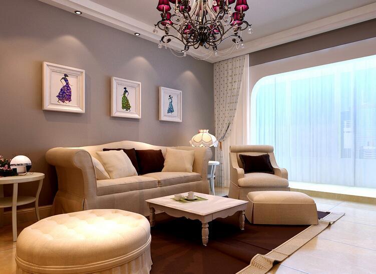 欧式风格100平米房屋客厅吊顶装修效果图