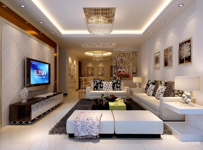 90平米欧式电视背景墙装修效果图鉴赏