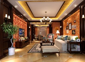美式装修风格样板房客厅装修效果图实例