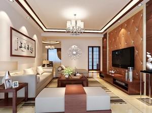 2016别墅中式客厅电视背景墙装修效果图实例