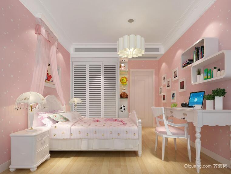 别墅欧式风格儿童房背景墙装修效果图