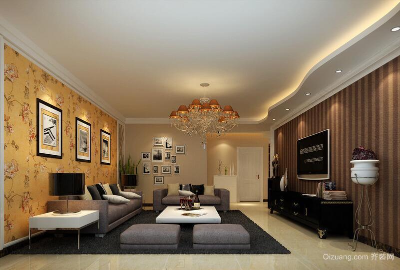 欧式现代精致的大户型客厅吊顶装修效果图