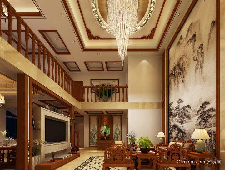 现代都市精致复式楼客厅吊顶装修效果图