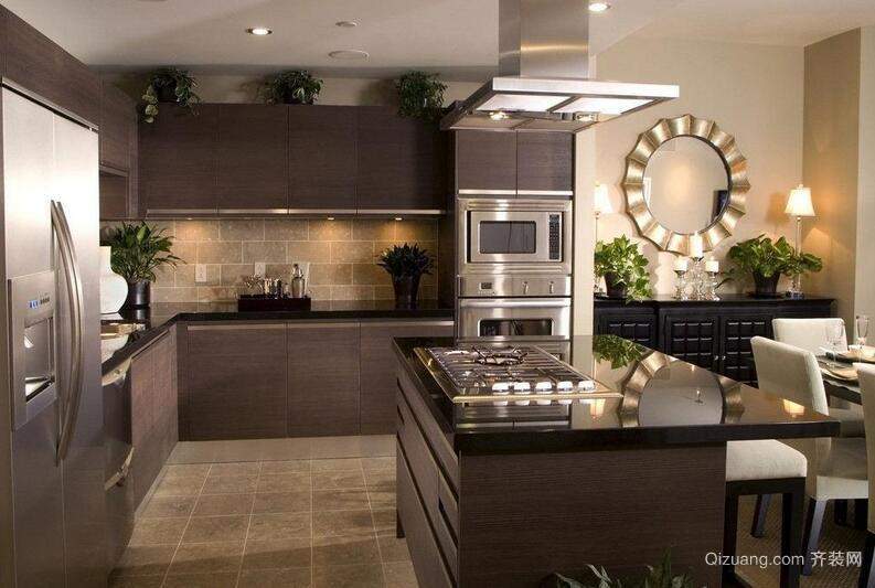 别墅型欧式开放式厨房吊顶装修效果图鉴赏