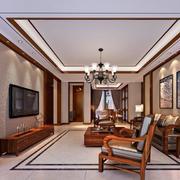 大户型中式客厅电视背景墙装修效果图鉴赏