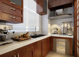 小户型美式装修风格样板房厨房装修效果图