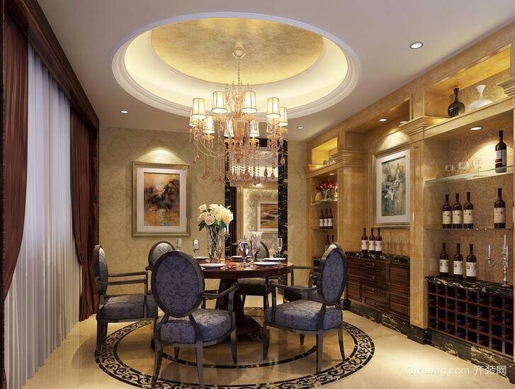 高贵典雅的欧式别墅餐厅室内装修效果图