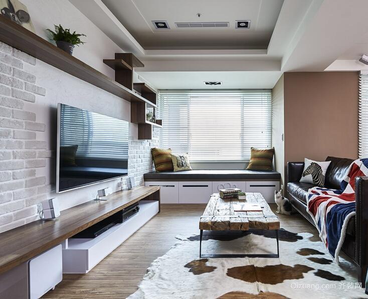 别墅现代简约客厅电视背景墙装修效果图