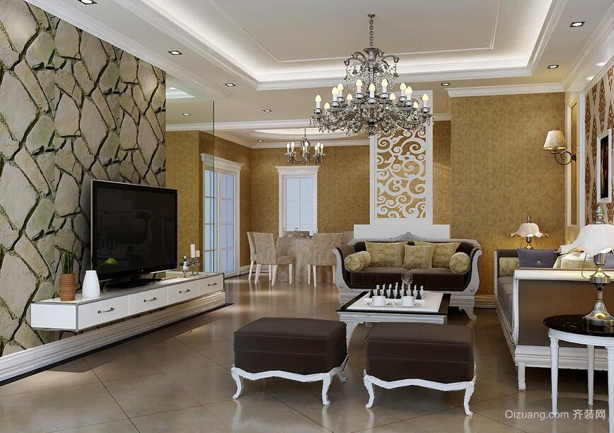 欧式别墅客厅电视背景墙装修效果图实例