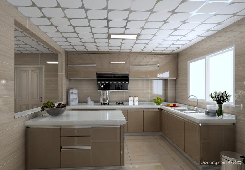 经典的现代欧式别墅厨房吊顶装修效果图