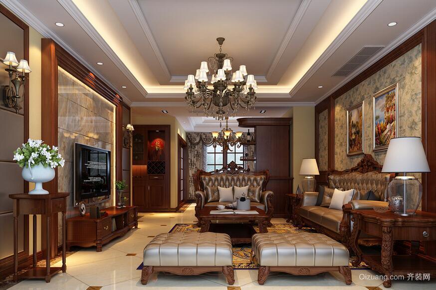 美式装修风格样板房客厅吊顶装修效果图