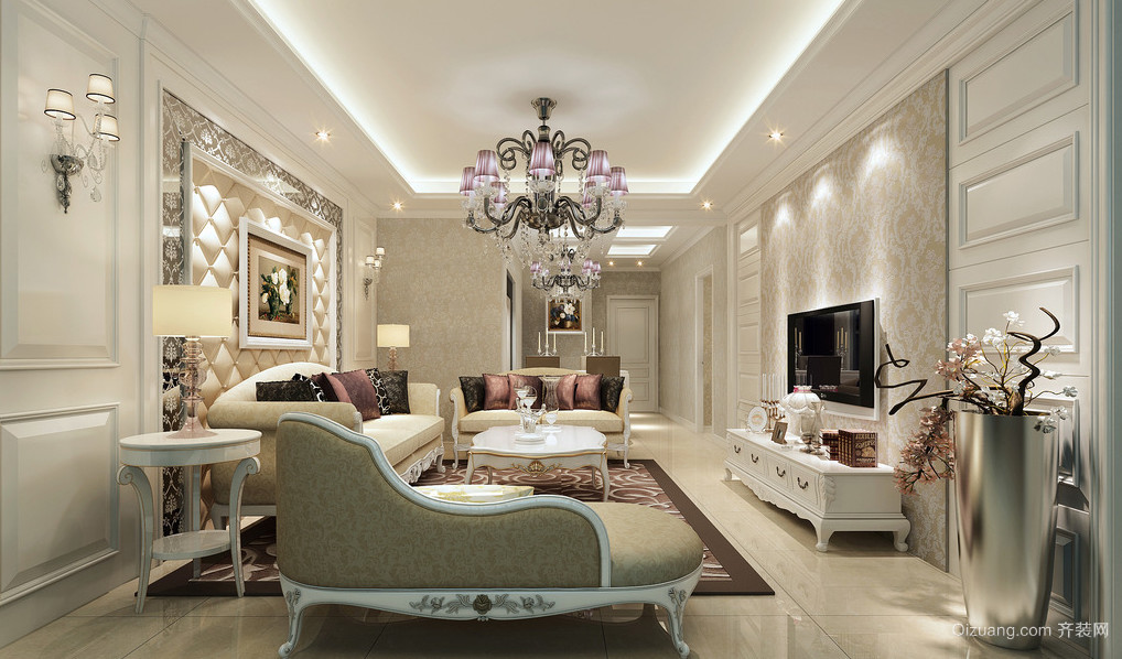 别墅型法式精装客厅装修效果图