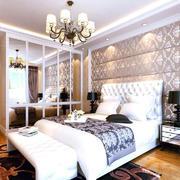 简约暖色欧式卧室吊灯效果装修图
