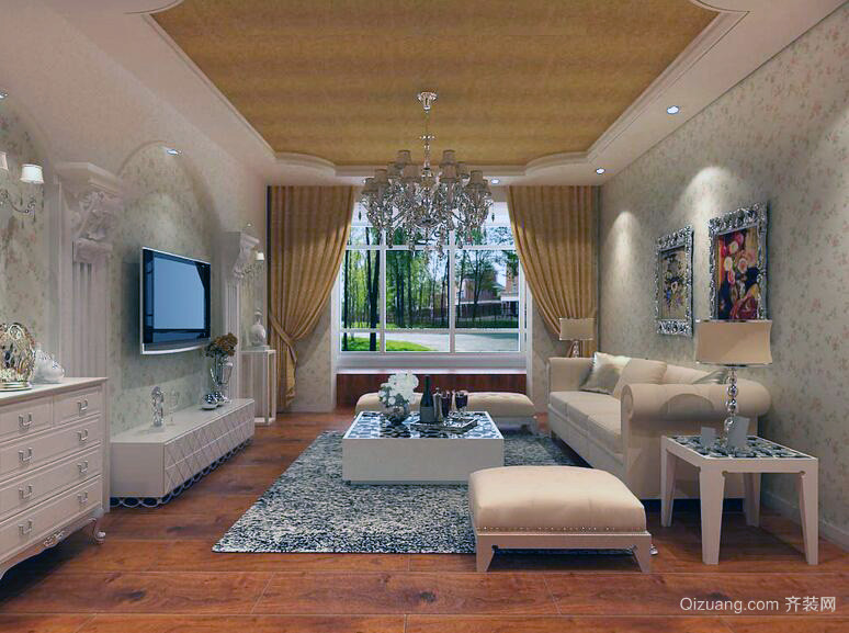 90平米宜家田园风格客厅装修效果图实例