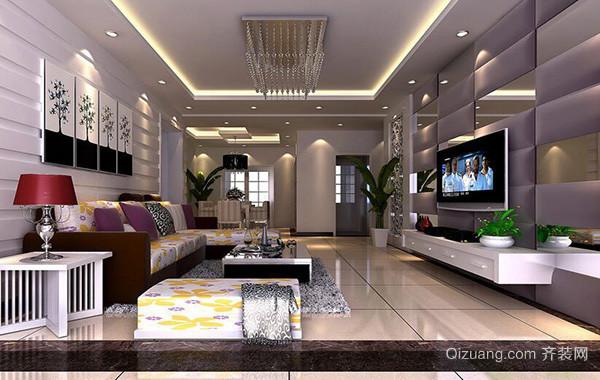 精致别墅型欧式风格客厅吊顶装修效果图