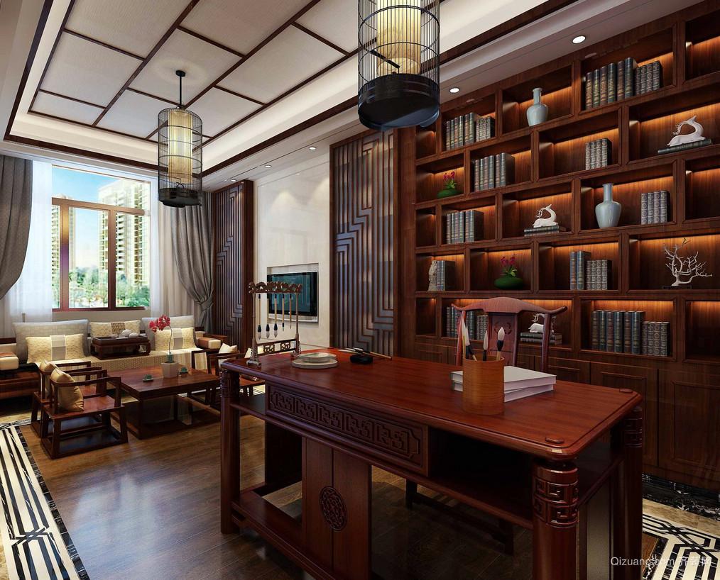 中式古典复古大户型书房装修效果图