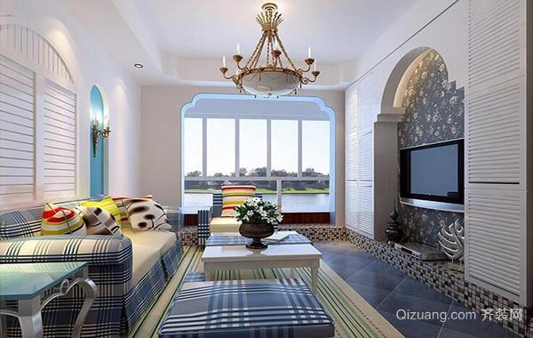 120平米别墅型地中海风格客厅装修效果图