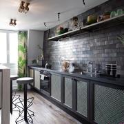 美式乡村风格小户型开放式厨房装修效果图