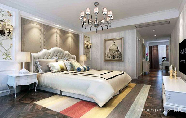 2016别墅欧式卧室床头背景墙装修效果图