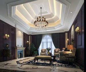 2016别墅现代欧式客厅水晶吊灯装修效果图