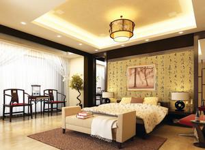 100平米大户型中式卧室背景墙装修效果图鉴赏