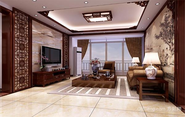 2016大户型中式客厅电视背景墙装修效果图欣赏